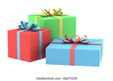 three color gift boxes isolated on white background