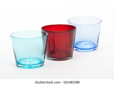 Three color glasses isolated on white background