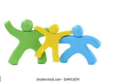 three color small plasticine people - the happy family