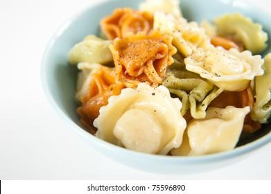 Three Color Tortellini Pasta in Blue Bowl