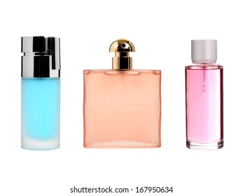 Three color transparent glass perfume bottles isolated on white