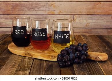 Three color wine flight in label glasses