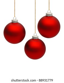 three colored Christmas ball isolated on the white background