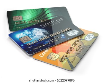 Three colored credit cards isolated on white background, 3d illustration