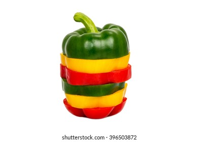 Three colored red Yellow green  Mix bell pepper vegetarian ripe pepper paprika spices isolate on white background