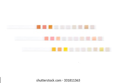 Three colored test strips for semiquantitative analysis isolated on white with clipping path