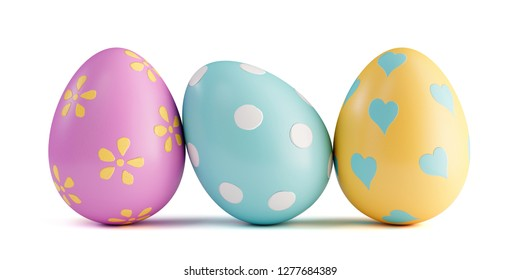 Three colorful easter eggs isolated on white backgrund.
