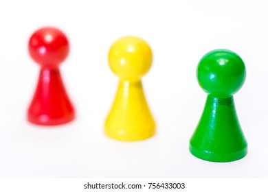 Three colorful game figures on white background