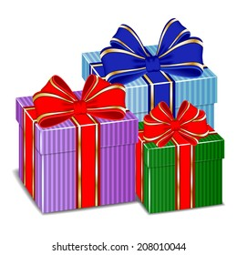 Three colorful gifts with ribbons. Raster version