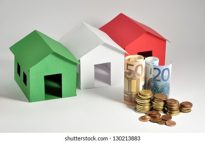 Three colorful houses with euro.
