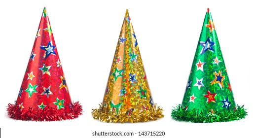 Three colorful party hats collage on a white background