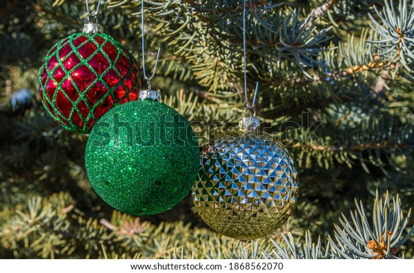 three colorful, sparkly, round Christmas ornaments hanging on the branches of an outdoor pine tree