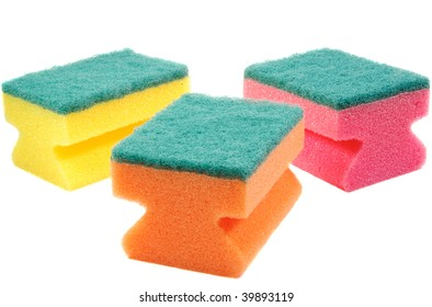three colorful sponges. Isolated over white.