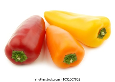 three colorful sweet snack peppers on a white background
