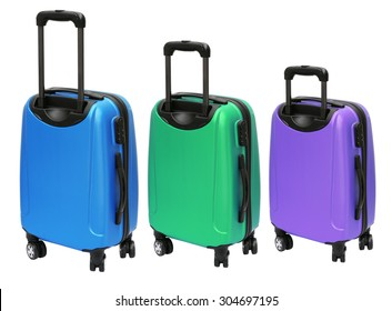 Three Colourful Luggages with Wheels Standing on White Background