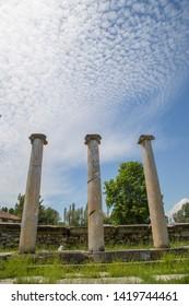 Three columns at Aizonai roman ancient city, Anatolia, Turkey.