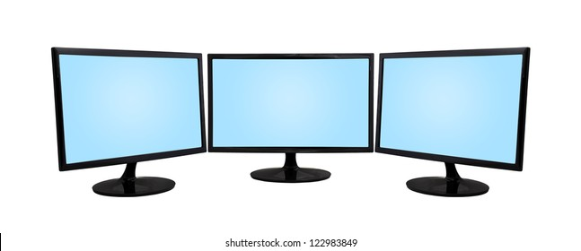 three computer monitor on a white background