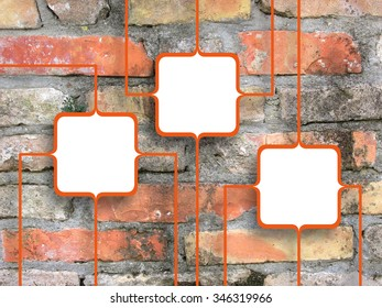 Three connected orange square frames on aged brick wall background