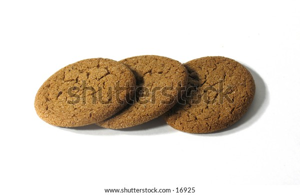 Three cookies isolated on white background