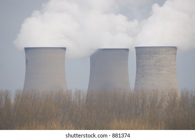 Three cooling towers from a power station.