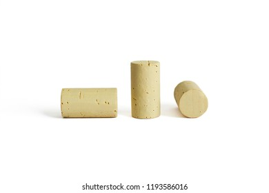 three corks on a white background