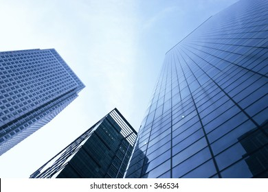 three corporate buildings