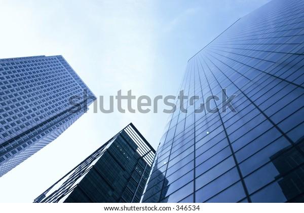 three corporate buildings
