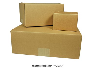 Three Corrugated Shipping Boxes  (with clipping path)
