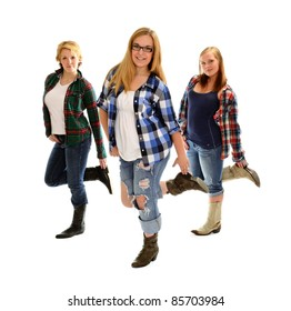 Three Country and Western Line Dancing Girls