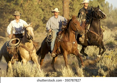 Three Cowboys galloping