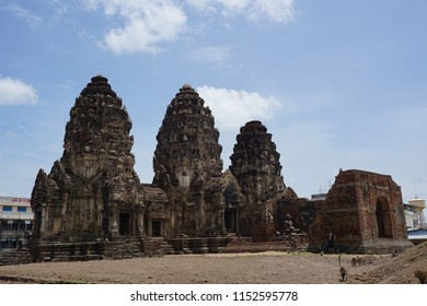 THE THREE CRESTS PHRA PRANG. archaeological site in Lopburi province Thailand