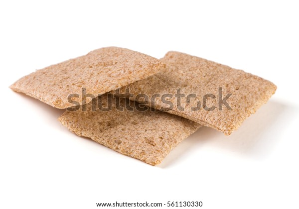 Three crisp bread isolated on white background