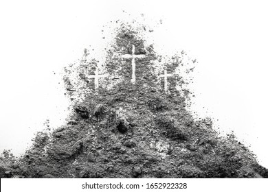 Three cross on the Golgotha hill as Good Friday, Easter, Ash Wdnesday or Lent period drawing in ash or dust as passion of Jesus Christ nad holiday concept