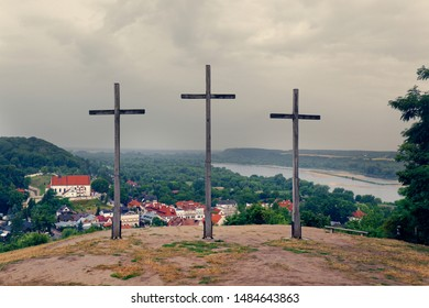 Three Crosses Mountain in Kazimierz Dolny, as a Memorial commemorating a plague that decimated the town's population
