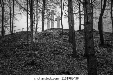 Three Crosses on the Bleak Hill originally known as the Bald Hill in Kalnai Park. Vilnius. Lithuania