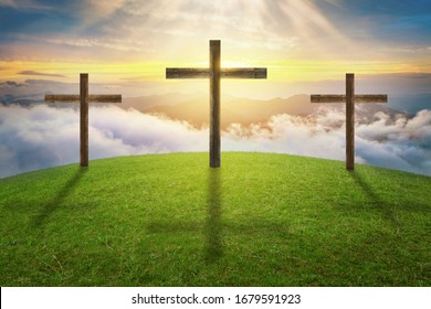 Three crosses on Golgotha hill, easter concept, death and resurrection of Jesus Christ