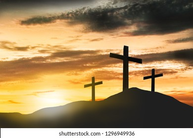Three crosses on the mountain, crucifixion, Jesus Christ, sunset, abstract concept, can be used as a background.