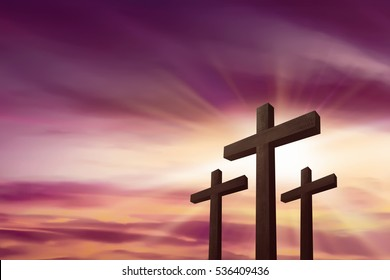 Three crosses over sky background. Religious concept
