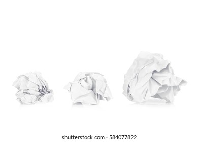 Three Crumpled paper ball. From small to big. isolated on white back ground