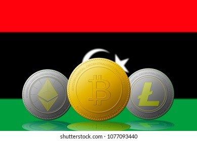 Libya background images stock photos vectors shutterstock three cryptocurrencies bitcoin ethereum and litecoin with libya flag on background ccuart Choice Image