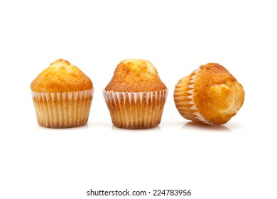 Three cupcakes on white background