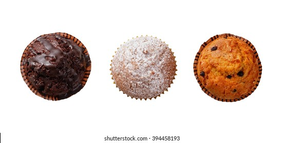 Three cupcakes on a white background .View from above.