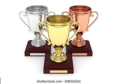 Three cups on white background. 3D rendering.