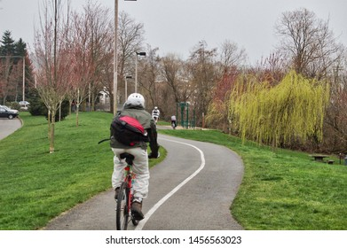 Three Cyclers on Renton River Walking Biking Trail