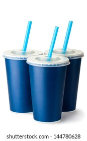 Three dark blue cardboard cups with a straws. Isolated on a white.