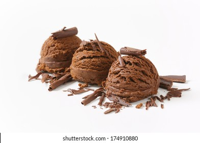 three dark chocolate ice cream scoops sprinkled with chocolate flakes