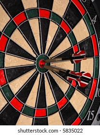 Three darts in a dartboard