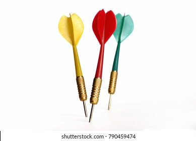 three darts on a white surface, concept for marketing target and success