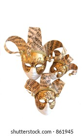 Three decorative carnival masks from Venice on a white background.