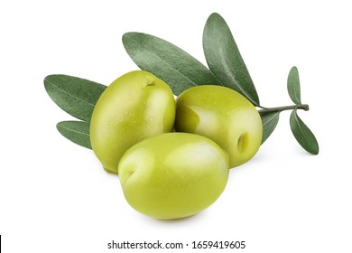 Three delicious green olives with leaves, isolated on white background